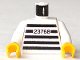 Part No: 973pb0056c02  Name: Torso Jail Stripes with Number 23768 Pattern / White Arms / Yellow Hands