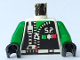 Part No: 973pb0081c01  Name: Torso Space Police with Zipper and Star Pattern / Green Arms / Black Hands