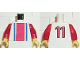 Part No: 973pb0104c01  Name: Torso Soccer Vertical Striped Red/Blue and No. 11 Back Pattern / Red Arms / Yellow Hands