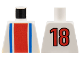 Part No: 973pb0124  Name: Torso Soccer Vertical Striped Red/Blue and No. 18 on Back Pattern