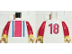Part No: 973pb0124c01  Name: Torso Soccer Vertical Striped Red/Blue and No. 18 on Back Pattern / Red Arms / Yellow Hands