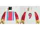Part No: 973pb0126c01  Name: Torso Soccer Vertical Striped Red/Blue and No. 9 Back Pattern / Red Arms / Yellow Hands