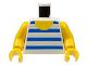 Part No: 973pb0128c01  Name: Torso Horizontal Blue/White Stripes Pattern / Yellow Arms / Yellow Hands