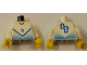 Part No: 973pb0170c01  Name: Torso Soccer Blue Chevron and No. 4 Front and Back Pattern / White Arms / Yellow Hands