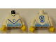 Part No: 973pb0172c01  Name: Torso Soccer Blue Chevron and No. 9 Front and Back Pattern / White Arms / Yellow Hands