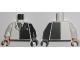 Part No: 973pb0187c01  Name: Torso Batman Suit with Black Half Panel, Tie Pattern / Black Arm Left / White Arm Right / Dark Bluish Gray Hand Left / Light Nougat Hand Right