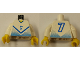 Part No: 973pb0214c01  Name: Torso Soccer Blue Chevron and No. 7 Front and Back Pattern / White Arms / Yellow Hands