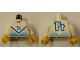Part No: 973pb0216c01  Name: Torso Soccer Blue Chevron and No. 14 Front and Back Pattern / White Arms / Yellow Hands