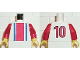 Part No: 973pb0246c01  Name: Torso Soccer Vertical Striped Red/Blue and No. 10 Back Pattern / Red Arms / Yellow Hands