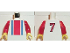 Part No: 973pb0254c01  Name: Torso Soccer Vertical Striped Red/Blue and No. 7 Back Pattern / Red Arms / Yellow Hands