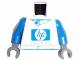 Part No: 973pb0288c01  Name: Torso Racers Blue 'hp invent' Pattern (Sticker) / Blue Arms / Dark Gray Hands
