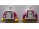 Part No: 973pb0433c01  Name: Torso Hospital German Telekom Pattern (Stickers on both sides) / Dark Pink Arms / Yellow Hands