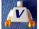 Part No: 973pb0520c01  Name: Torso Vestas Logo Pattern (Sticker) / White Arms / Yellow Hands