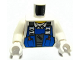 Part No: 973pb0535c01  Name: Torso Power Miners Blue Vest over Shirt with Collar Pattern / White Arms / White Hands