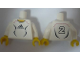 Part No: 973pb0559c01  Name: Torso Soccer Adidas Logo, White and Black No. 2 Pattern (Stickers) / White Arms / Yellow Hands