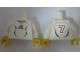 Part No: 973pb0561c01  Name: Torso Soccer Adidas Logo, White and Black No. 7 Pattern (Stickers) / White Arms / Yellow Hands