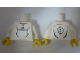 Part No: 973pb0562c01  Name: Torso Soccer Adidas Logo, White and Black No. 9 Pattern (Stickers) / White Arms / Yellow Hands