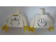 Part No: 973pb0563c01  Name: Torso Soccer Adidas Logo, White and Black No. 10 Pattern (Stickers) / White Arms / Yellow Hands