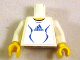 Part No: 973pb0571c01  Name: Torso Soccer Adidas Logo, White and Blue No. 4 Pattern (Stickers) / White Arms / Yellow Hands