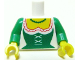 Part No: 973pb0640c01  Name: Torso Castle Forestman Green Corset and Necklace Reissue Pattern / Green Arms / Yellow Hands