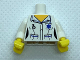 Part No: 973pb0667c01  Name: Torso Hospital EMT Star of Life, Female Shirt Open Collar and Fob Watch Pattern / White Arms / Yellow Hands