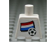 Part No: 973pb0815  Name: Torso Soccer White/Blue Team, Dutch Flag Sticker Front, Black Number Sticker Back (specify number in listing)