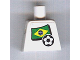 Part No: 973pb0817  Name: Torso Soccer White/Blue Team, Brazilian Flag Sticker Front, Black Number Sticker Back (specify number in listing)