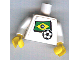 Part No: 973pb0817c01  Name: Torso Soccer White/Blue Team, Brazilian Flag Sticker Front, Black Number Sticker Back (specify number in listing) / White Arms / Yellow Hands