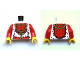 Part No: 973pb0959c01  Name: Torso Castle Kingdoms Gold Chain with Cross and Fur Trim Pattern / Red Arms / Yellow Hands