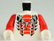 Part No: 973pb1036c01  Name: Torso Ninjago Snake Five Tooth Necklace with Expanded Red and Black Scales Pattern / Red Arms / White Hands
