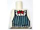Part No: 973pb1052  Name: Torso Dark Blue Apron with White Stripes, Red Bow Tie Pattern