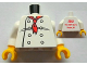 Part No: 973pb1122c01  Name: Torso Chef with 8 Buttons, Long Red Neckerchief Front, 2012 The LEGO Store Victor, NY Back Pattern / White Arms / Yellow Hands