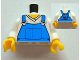 Part No: 973pb1134c01  Name: Torso V-Neck Shirt with Blue Overalls Front, 2011 The LEGO Store Pleasanton, CA Back Pattern / White Arms / Yellow Hands