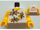 Part No: 973pb1135c01  Name: Torso Shirt 3 Flowers over Yellow and Silver Stripe Front, 2011 The LEGO Store Pleasanton, CA Back Pattern / Yellow Arms / Yellow Hands