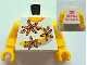 Part No: 973pb1145c01  Name: Torso Shirt 3 Flowers over Yellow and Silver Stripe Front, 2012 The LEGO Store Wauwatosa, WI Back Pattern / Yellow Arms / Yellow Hands