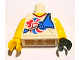 Part No: 973pb1156c01  Name: Torso V-Neck Shirt with Team GB Logo and Blue Bow Holder Pattern / Yellow Arms / Yellow Hand Right / Black Hand Left