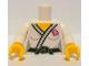 Part No: 973pb1158c01  Name: Torso Judo Kimono with Black Belt and Team GB Logo Pattern / White arms / Yellow hands