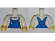 Part No: 973pb1319c01  Name: Torso Overalls Blue with Zippered Front Pocket Pattern / White Arms / Yellow Hands