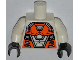 Part No: 973pb1332c01  Name: Torso Space with Orange and Silver Battle Mech Pattern / White Arms / Black Hands