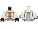 Part No: 973pb1343c01  Name: Torso SW Armor Republic Trooper with Orange Stripe Pattern / White Arms / Black Hands
