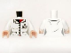 Part No: 973pb1465c01  Name: Torso Batman Female Lab Coat with 4 Buttons and ID Badge Pattern / White Arms / Light Nougat Hands