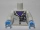 Part No: 973pb1483c01  Name: Torso Female Lab Coat, Medium Lavender Shirt and Pen, 'PROFESSOR C BODIN' Name Tag Pattern / White Arms / Bright Light Blue Hands