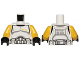 Part No: 973pb1525c01  Name: Torso SW Armor Clone Trooper Commander Black Belt and Four Yellow Stars Pattern / Yellow Arms / Black Hands