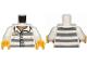 Part No: 973pb1557c01  Name: Torso Town Prisoner Number 86753, Dark Bluish Gray Stripes, Buttons, Dark Tan Undershirt Pattern / White Arms / Yellow Hands