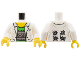 Part No: 973pb1731c01  Name: Torso Lab Coat with Pockets over Bright Green Shirt Pattern (Doc Ock) / White Arms / Yellow Hands