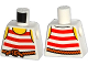 Part No: 973pb1932  Name: Torso Pirate Stripes Red with Rope Belt Pattern