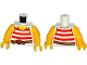 Part No: 973pb1932c01  Name: Torso Pirate Stripes Red with Rope Belt Pattern / Yellow Arms / Yellow Hands