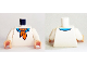 Part No: 973pb2070c01  Name: Torso Sweater with Dark Azure Shirt with Collar and Orange Ascot Tie Pattern (Fred) / White Arms / Light Flesh Hands