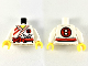 Part No: 973pb2140c01  Name: Torso Ninjago Robe with Red Sash and Trim and Silver Shuriken Pattern / White Arms / Yellow Hands