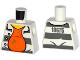 Part No: 973pb2163  Name: Torso Town Prisoner Number 18675, Dark Bluish Gray Stripes, Orange Shirt Pattern
